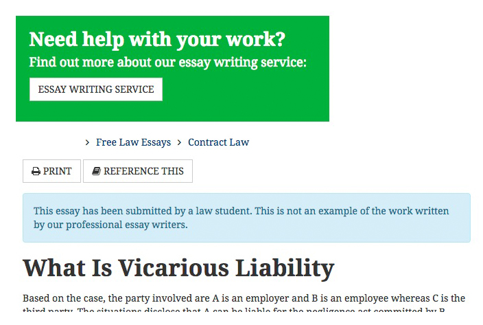 Vicarious Liability  Poodagogy Screenshot Showing Essay Writing Service And A Paper On Vicarious Liability  Written By A Law Student Sample Essay Thesis Statement also Help Writing A Song  Business Plan Writer Los Angeles